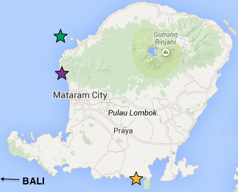 A map of Lombok, showing where the Gili Islands are, Senggiggi and the southern town of Gerupuk where we stayed