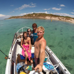 Boat selfie where we anchored up in the bay at Carnac Island