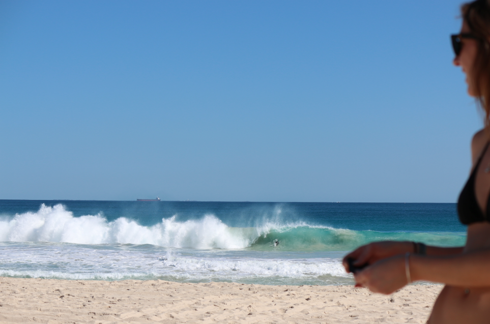 Turquoise waves, clear blue skies