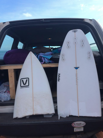 Dans brand new surfboard, snapped in half