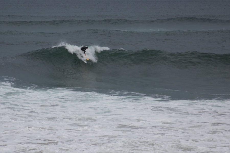 Dan catching a wave