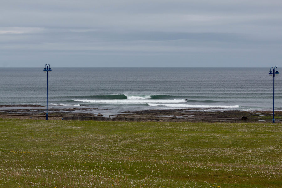 A perfect A- frame surf peak in Bundoran