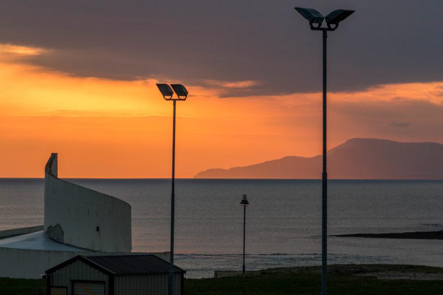 Sunset lighting the sky up orange