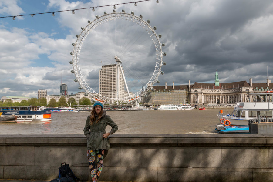 Tegan standing in front of the London Eye from across the river Thames