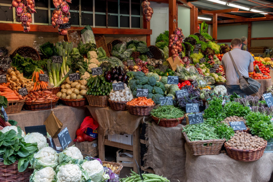 Fresh produce at the Borough Markets, fruits and vegetables of every colour
