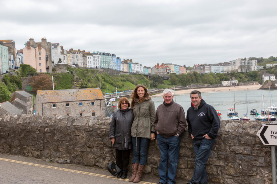 Group shot in front of the ocean in Tenby.
