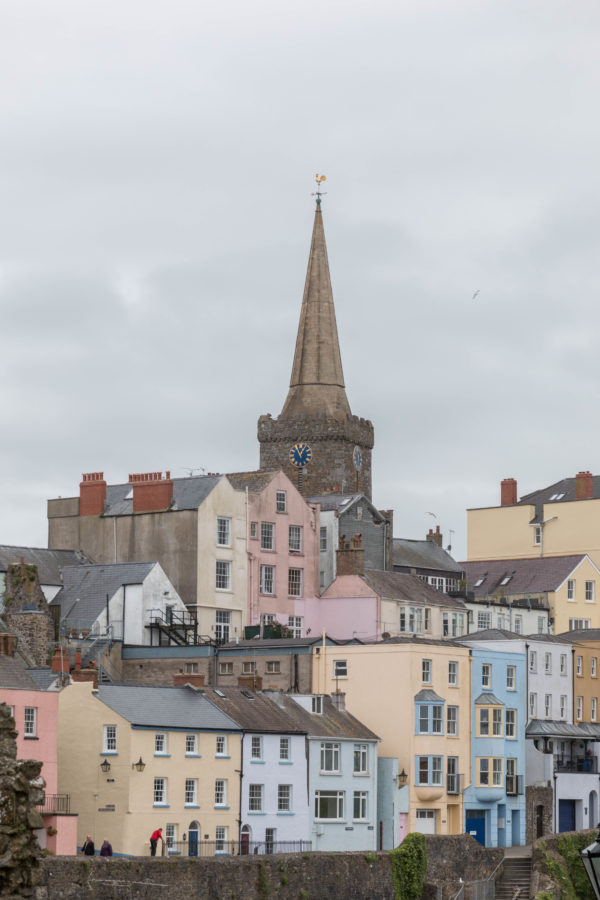 Yellow, pink, blue and orange coloured houses in Tenby.