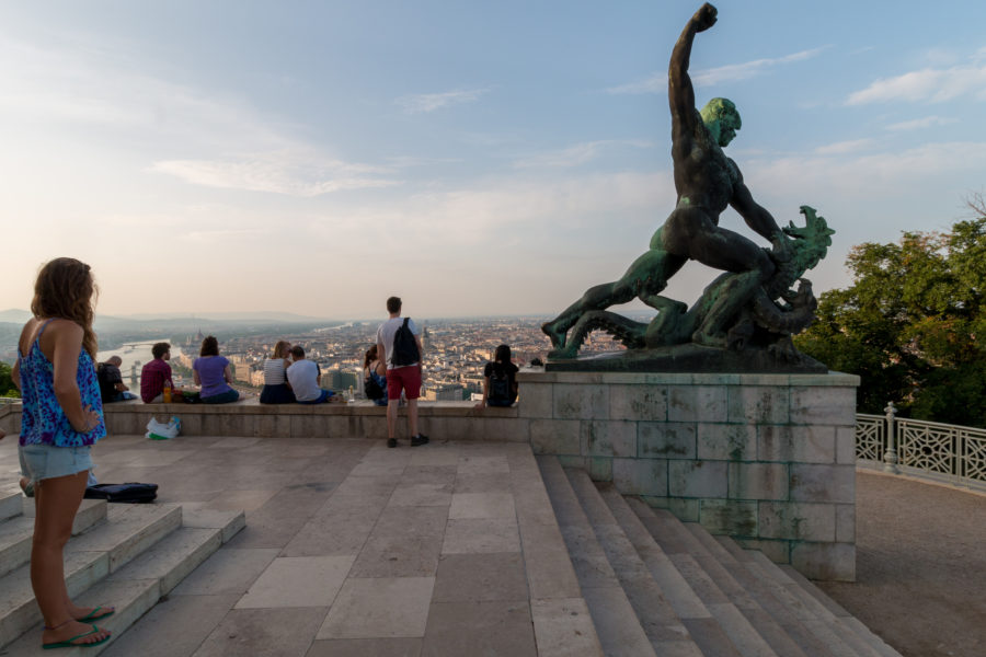 Statue of a man punching a dragon at the citadella
