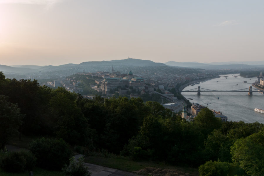 Looking over the hills of Budapest, river to the right