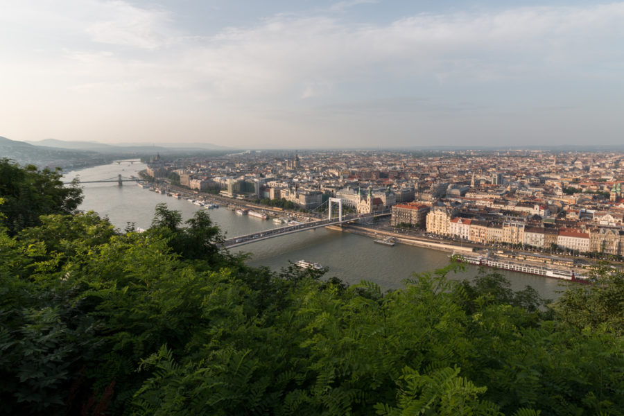 Looking out over Budapest from across the river