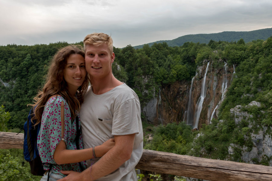 Couple shot in front of the main falls