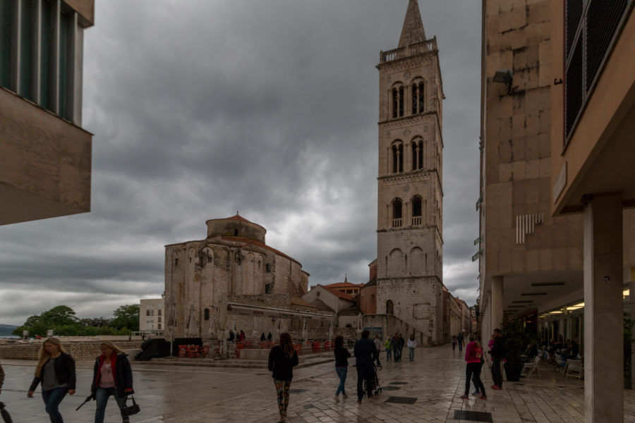 Grey cloudy skies, white stone buildings in the Old City
