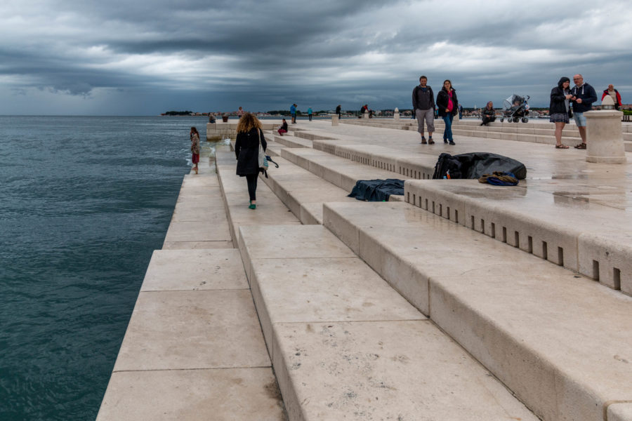 The sea organ steps, looks like harmonicas but huge and as steps
