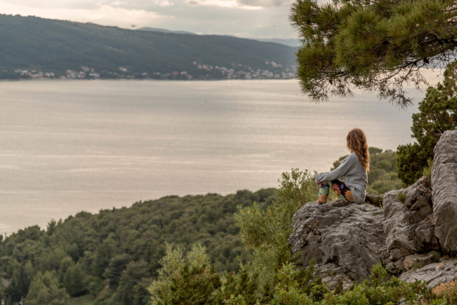 Sitting atop a rock surrounded by green looking out to sea