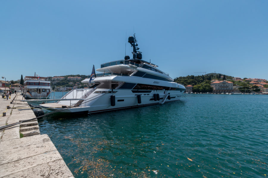 One of many super yachts docked here