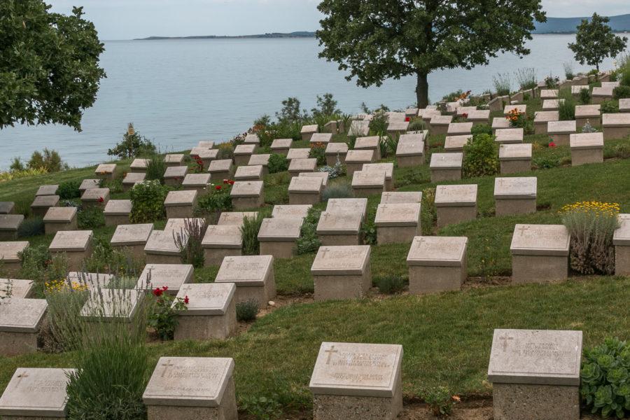 Brighton beach tombstones, sea behind them