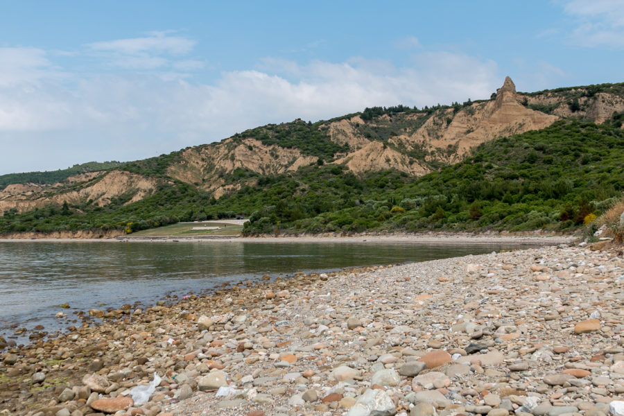 Looking over the pebble beach and ocean in Anzac Cove
