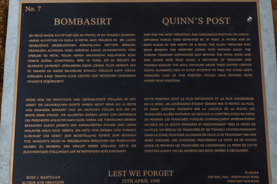 Quinns Post Plaque