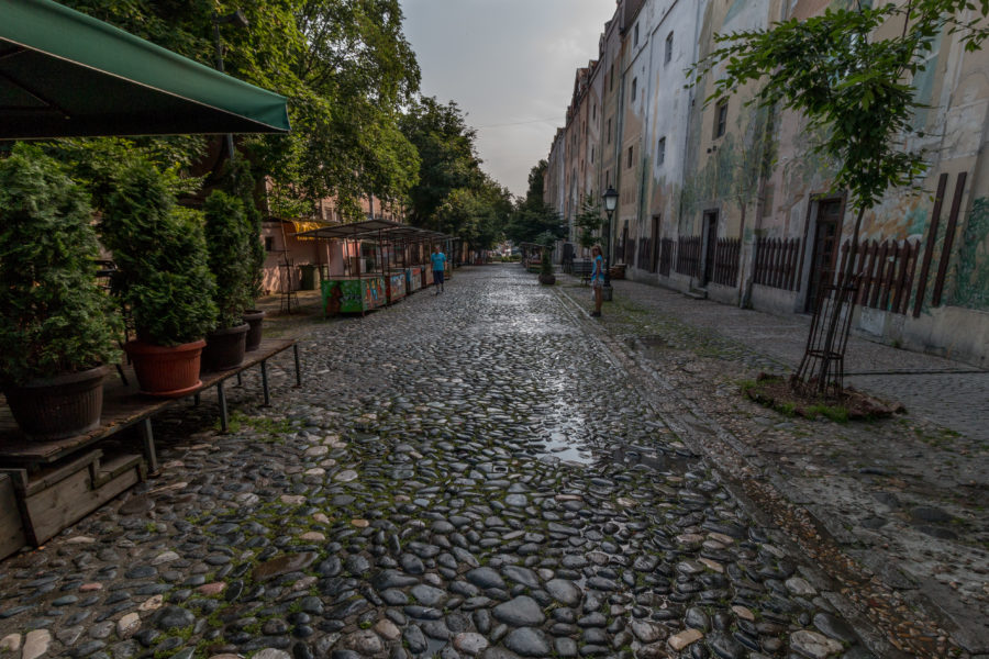 Cobblestone street wet with rain