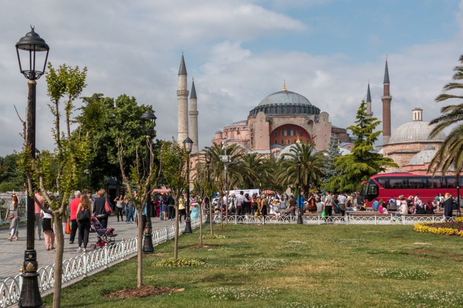 A park in Sultanhamet, the pink hagia sophia and minarets in the background