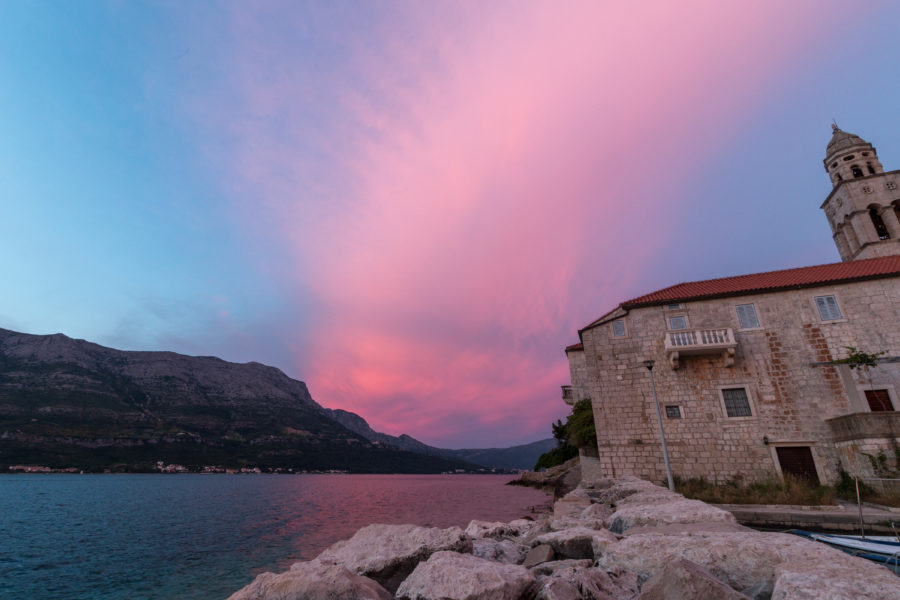 A fairy dust sunset, pinks, purples and blues over the sea