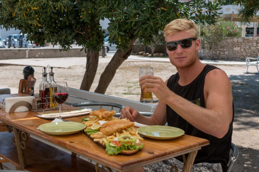 Dan with lunch + beer