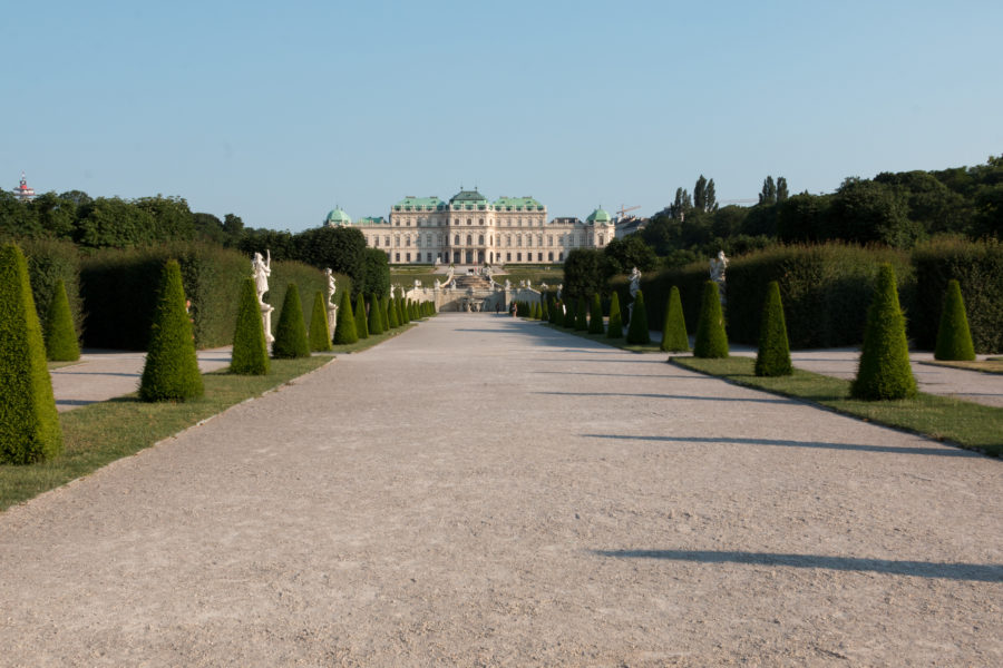 Belvedere palace in the distance, wide gravel path lined with trees and manicured bushes in the shape of triangles
