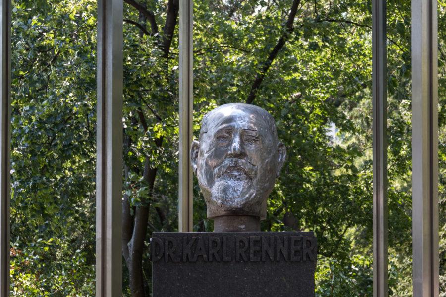 Silver statue of a head