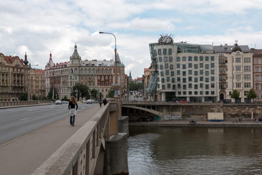 Bridge + leaning building