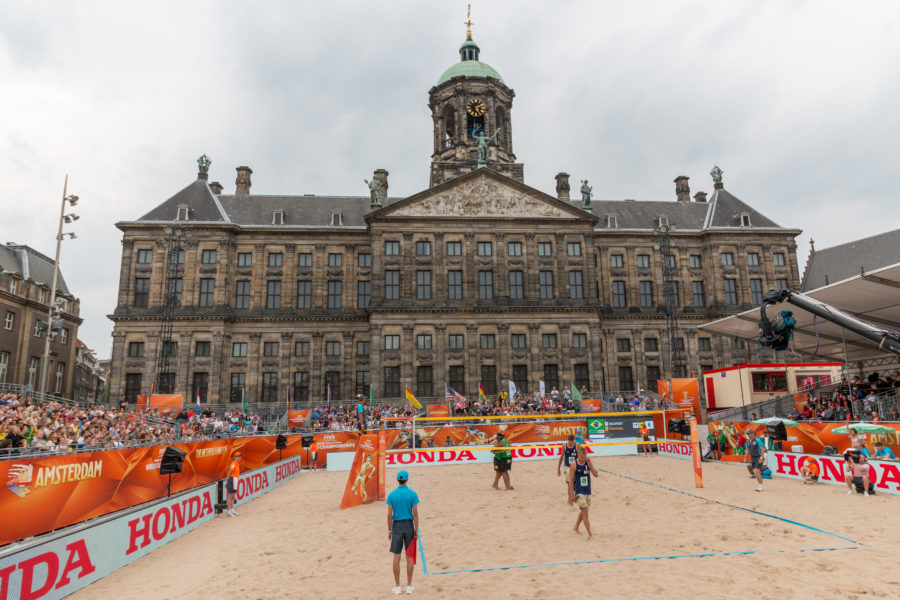 Beach volleyball in Amsterdam city centre.