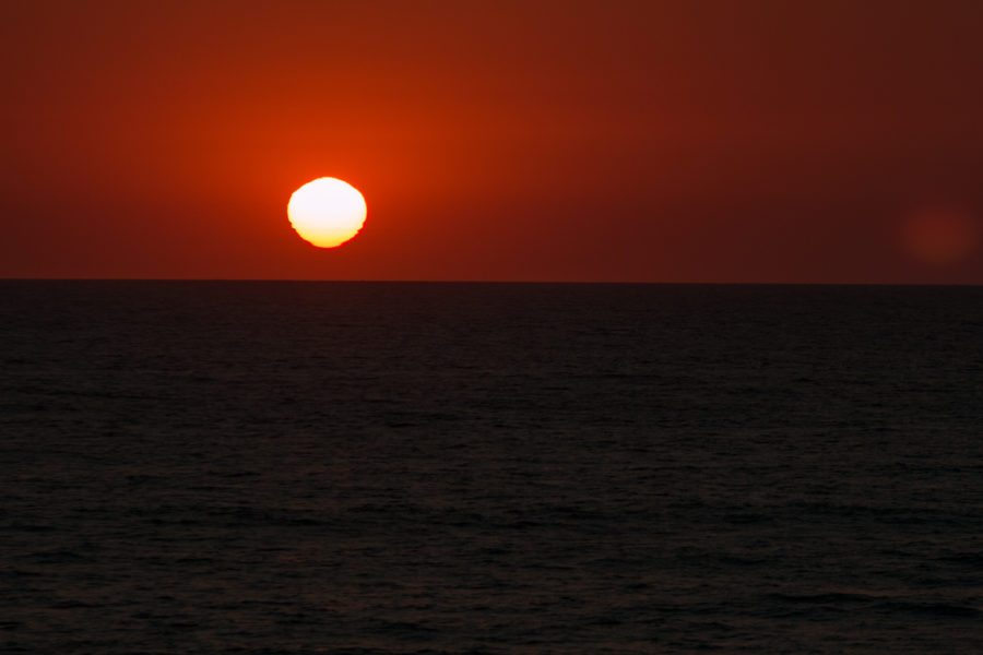 The bright sun during sunset