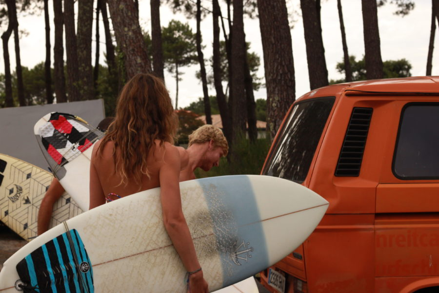 Loading up the van ready to go surfing