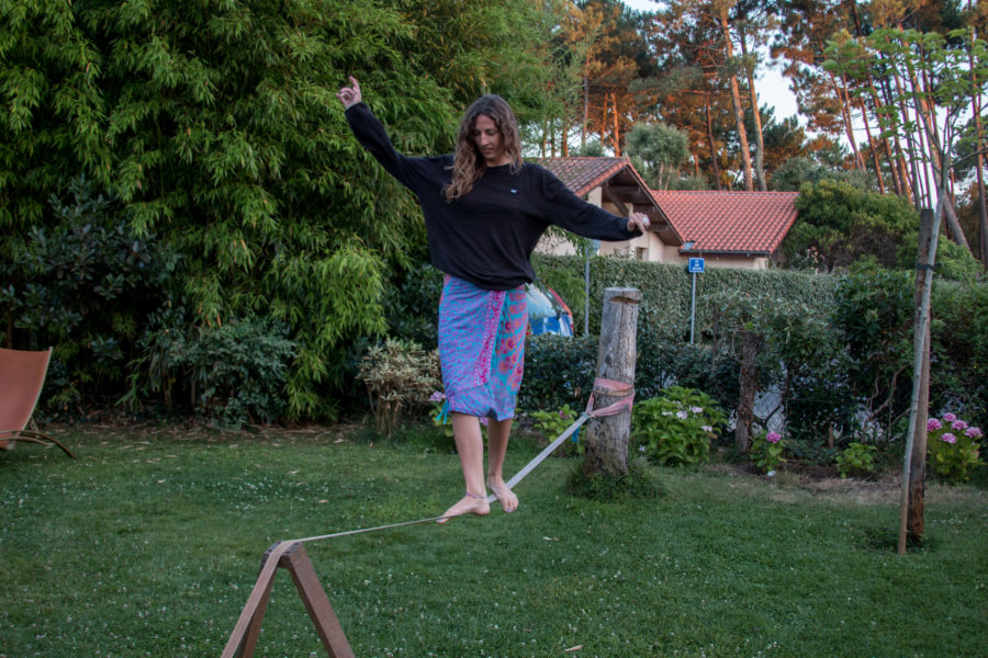 Tegan walking the slackline