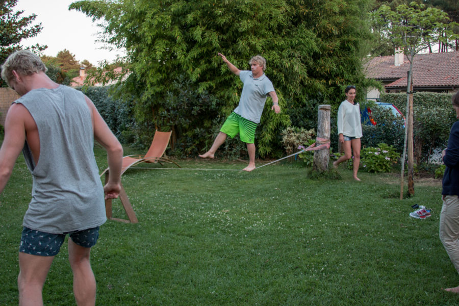Joel walking the slackline