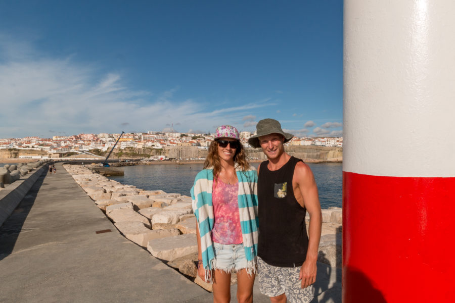 Us standing by the lighthouse at the end of the pier