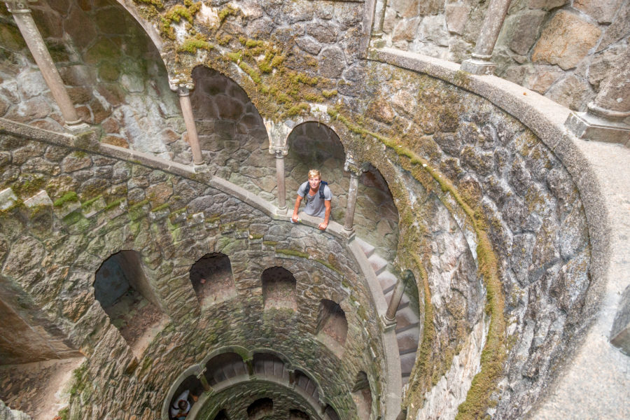 Daniel standing on a level down the inverted tower