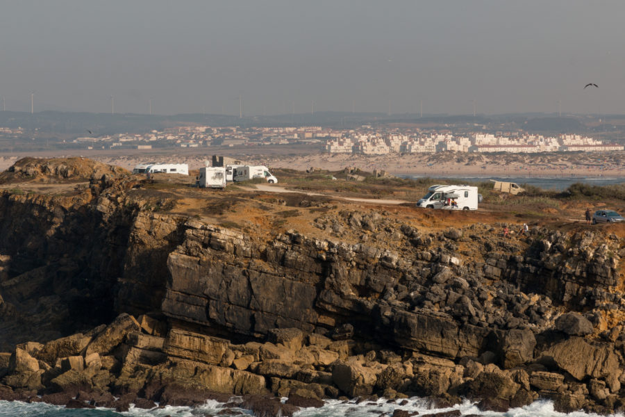 Rugged-ness of Peniche, ocean below, cliffs lining it