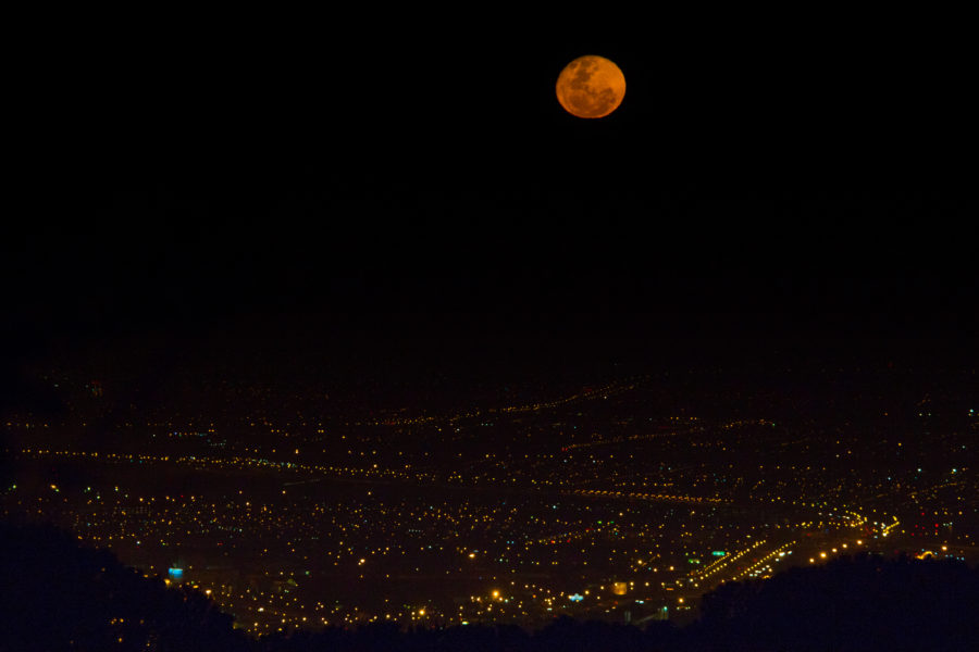 Full moon over Cape Town