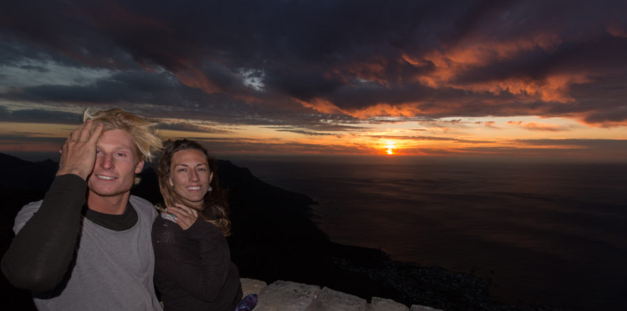 Tegs atop Table mountain, sunset over the sea