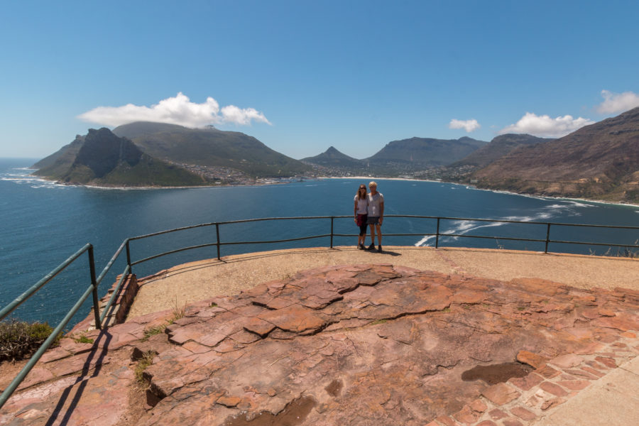Us over looking hout bay from chapmans peak