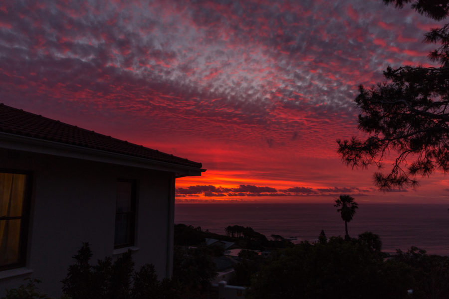 Intense pinks and oranges lighting up the sky