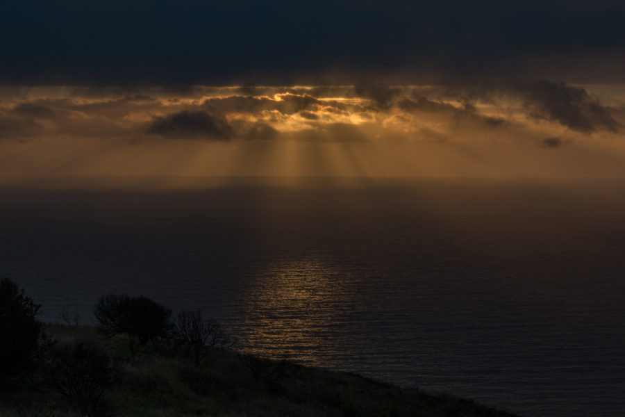 Light streaming through the clouds