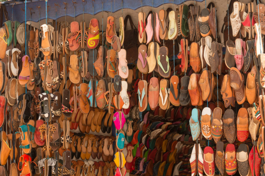 Sandals for sale in the medina