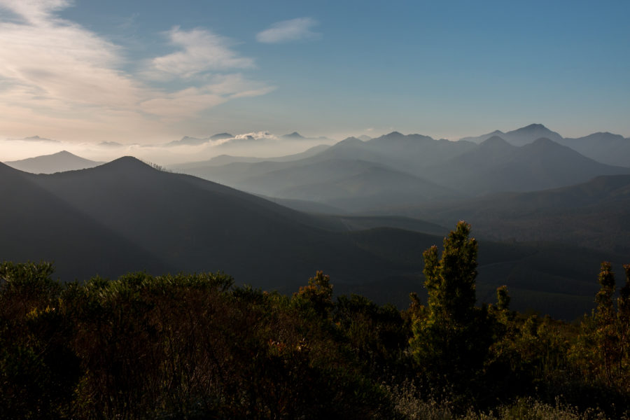 Mist rolling over the mountains in the distance