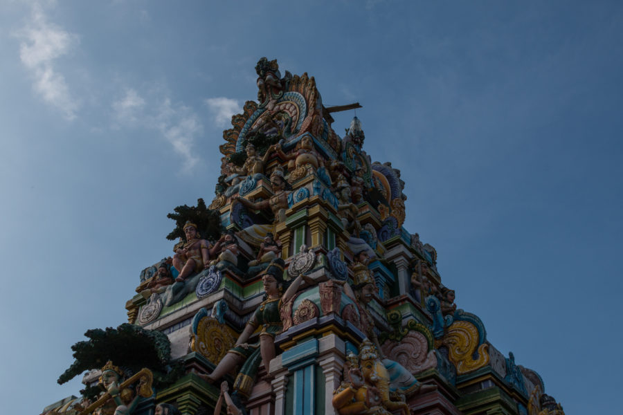 Hindi temple, blue skies behind