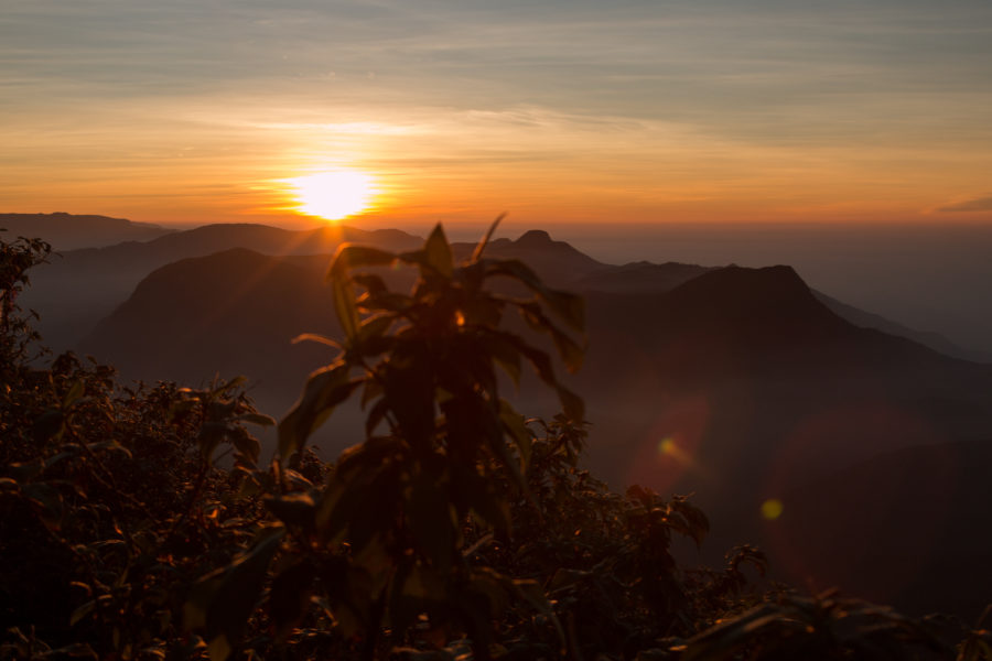 Sunrise over the mountains from the top
