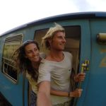 Us on a train in Sri Lanka