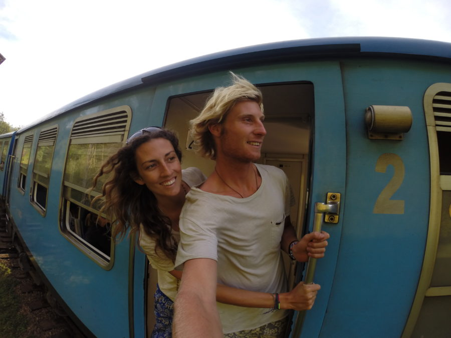 Us on a train in Sri Lanka